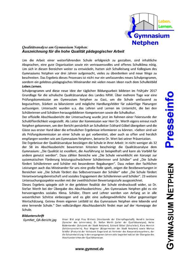 Qualitätsanalyse am Gymnasium Netphen